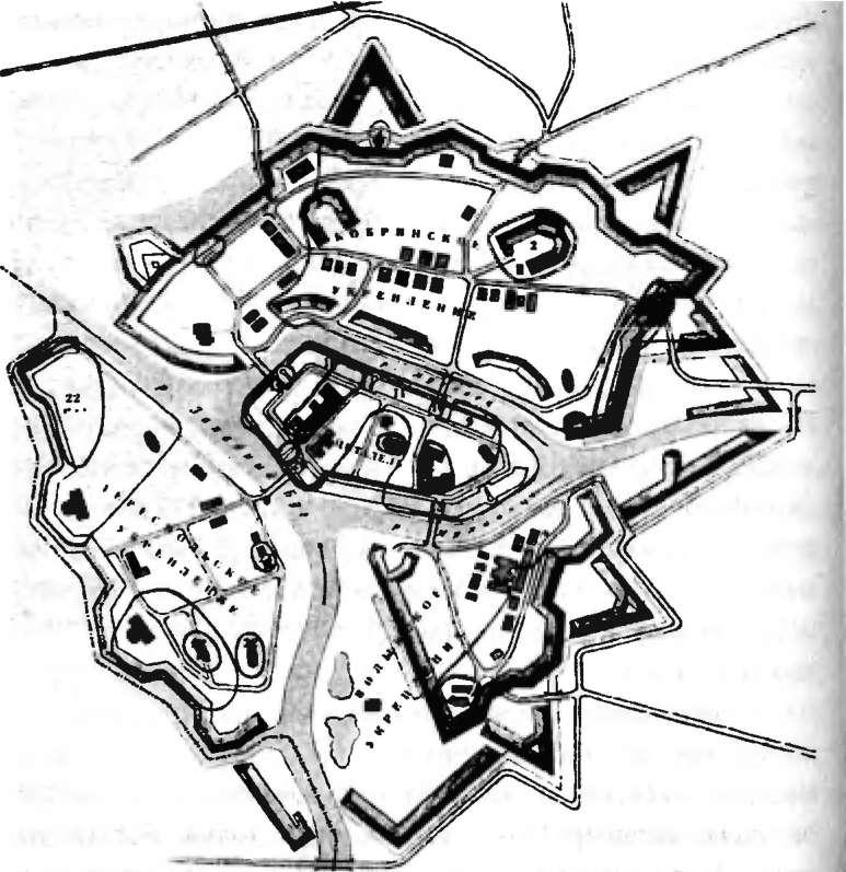 Схема обороны Брестской крепости в июне - июле 1941 г.