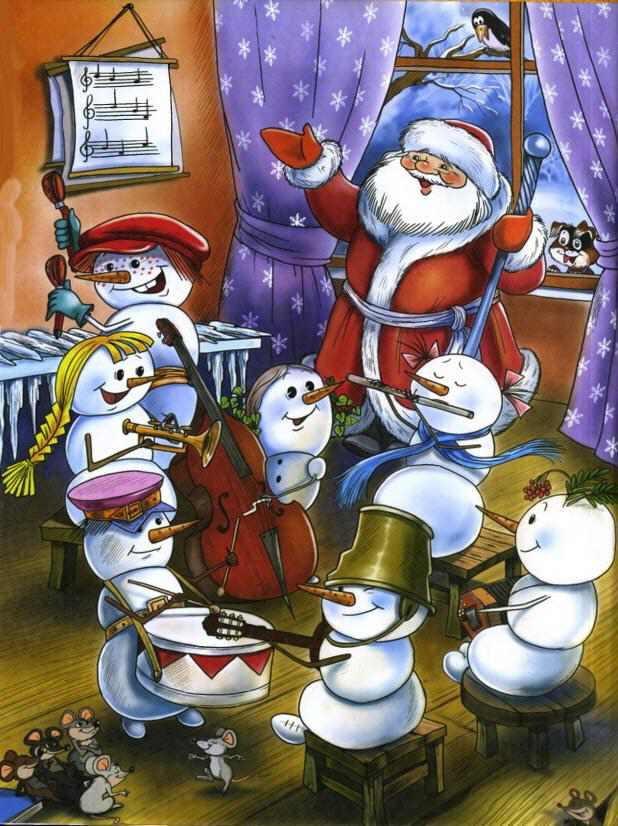 Дед мороз и снеговик открытки