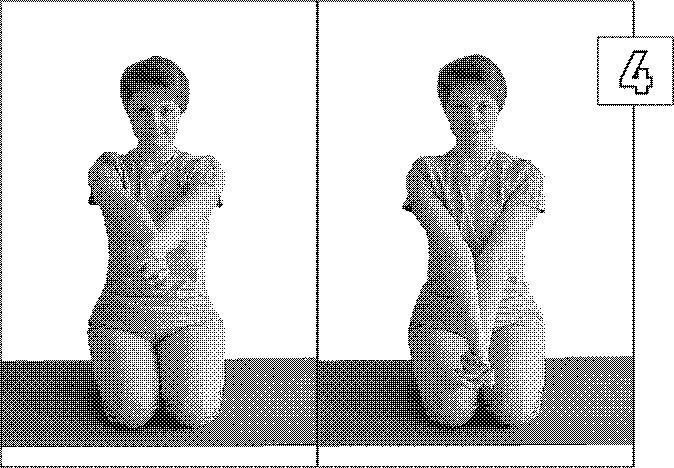 6. Сгибая левую руку в локте и приводя ее к груди, нажимайте правой
