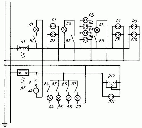 Пример электропроводки квартиры, принципиальная схема: А1, А2...