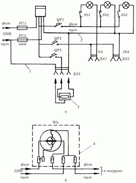 Электрическая схема включения электросчетчика в сеть 380/220 В: а - электрическая схема; б - схема однофазного.